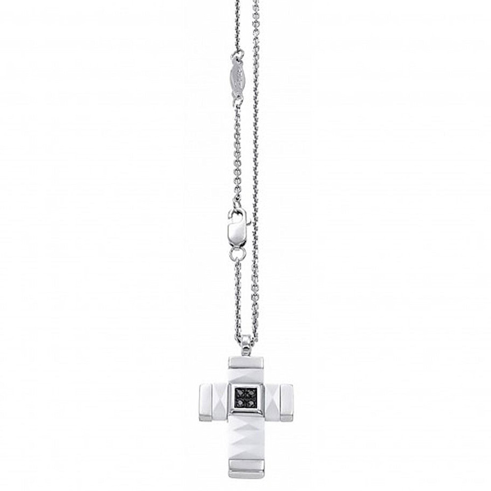 Белый керамический крестик Zancan Union с черными цирконами