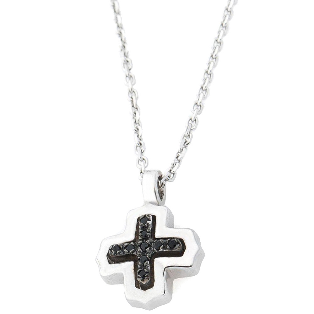 Подвеска-крест Zancan Silver Insignia 925 с черными камнями