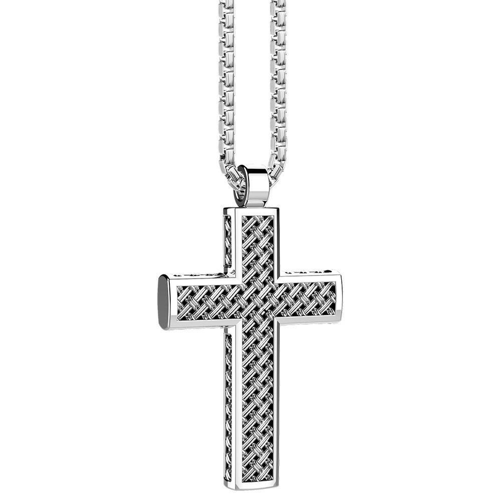 Серебряная подвеска-крестик Zancan Cosmopolitan с эффектом плетения