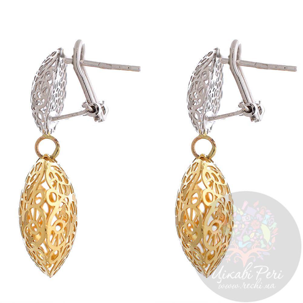 Ажурные серьги Francelli из белого и желтого золота