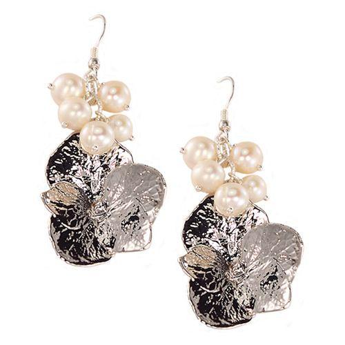 Серьги Ester Bijoux с натуральными цветами гортензии в серебре и жемчугом