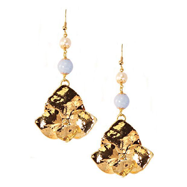 Серьги Ester Bijoux с натуральными цветами гортензии в золоте украшенные аквамарином и жемчугом