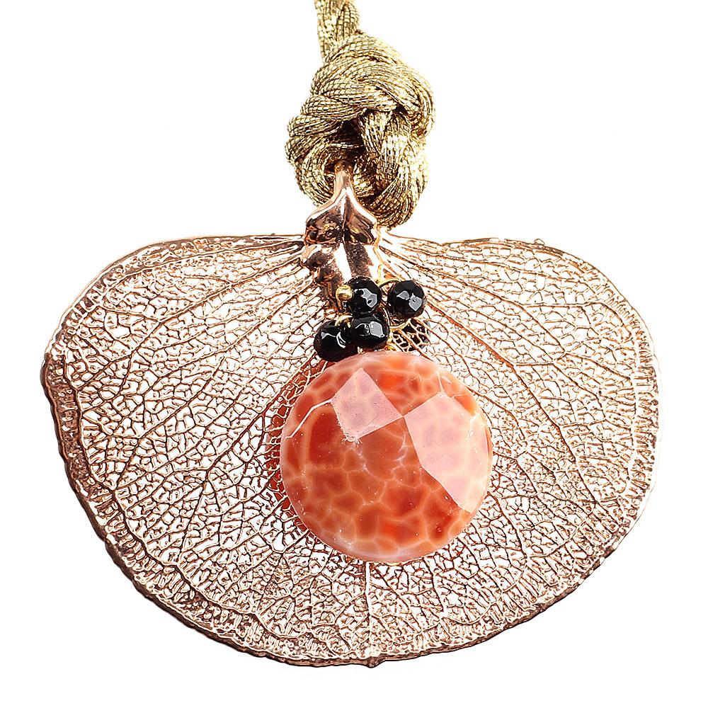Колье Ester Bijoux с листом денежного дерева в розовом золоте