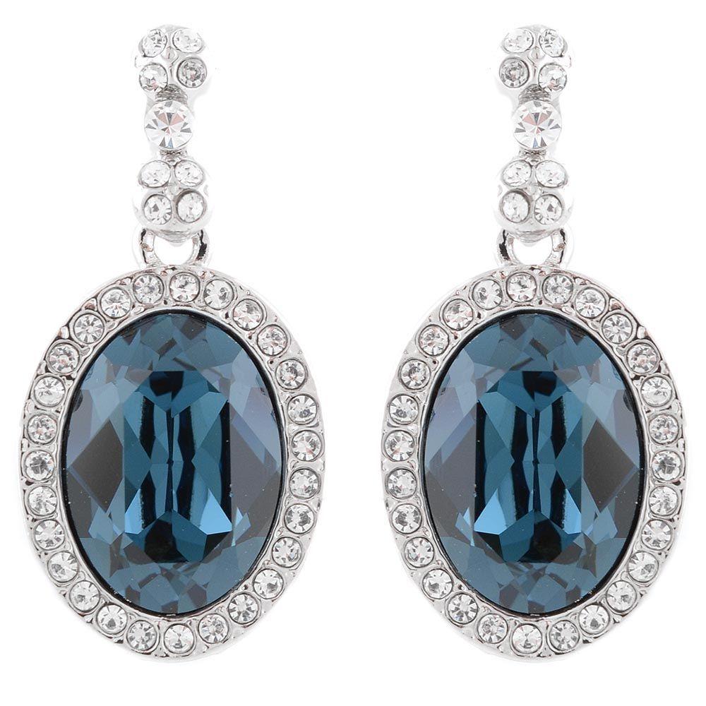 Серьги Parure Milano с крупным синим кристаллом в окантовке из белых камней