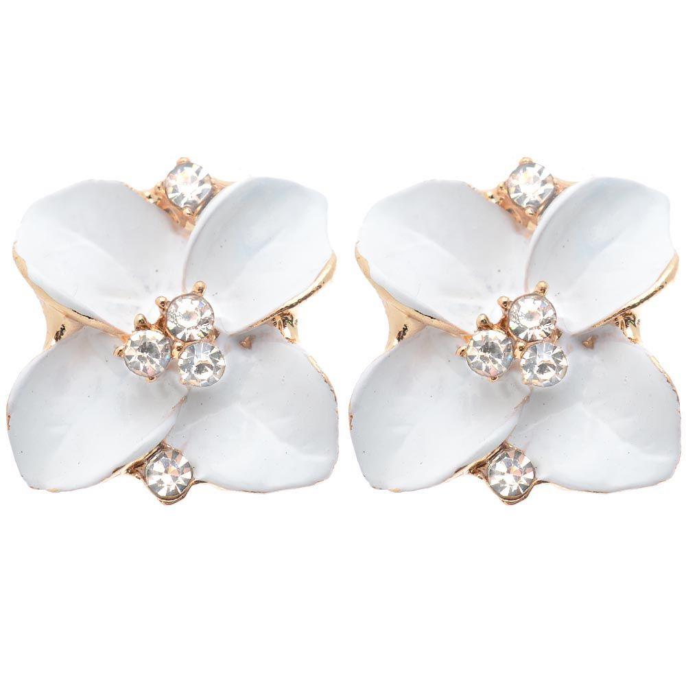 Серьги Jewels белого цвета с кристаллами в середине цветка