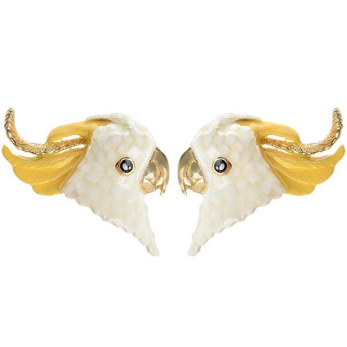 Серьги Good After Nine в виде белых попугаев Какаду