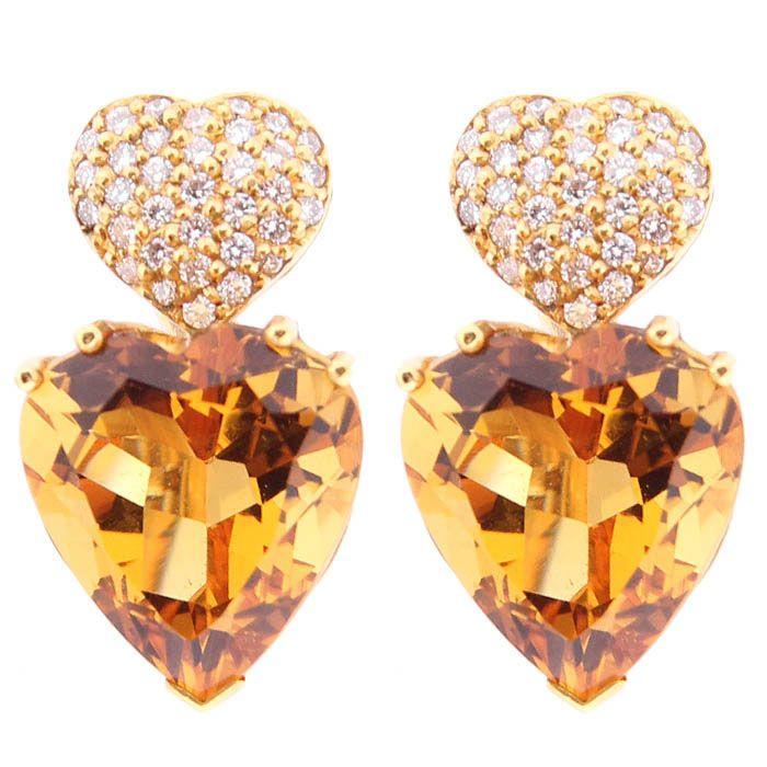 Серьги Gianni Lazzaro в форме сердечек из золота с цитрином и бриллиантами
