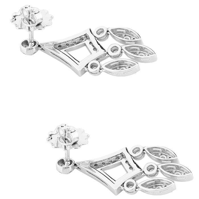 Ромбовидные серьги Gianni Lazzaro с подвесками из белого золота с бриллиантами