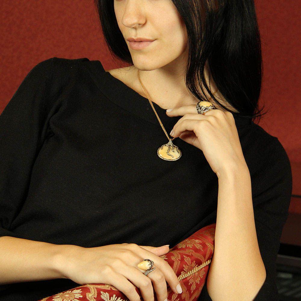 Перстень Gianni Lazzaro из золота с жемчугом и бриллиантами