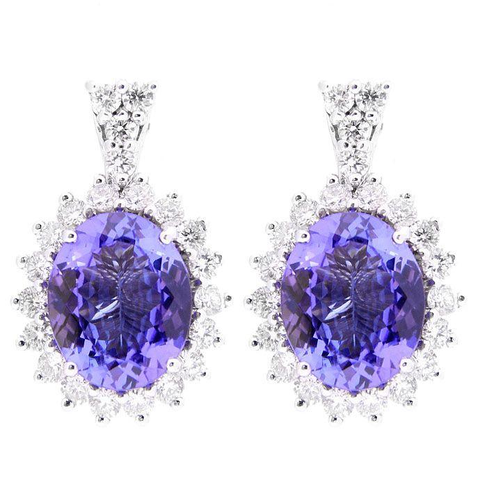Серьги Gianni Lazzaro из белого золота с бриллиантами и фиолетовым танзанитом
