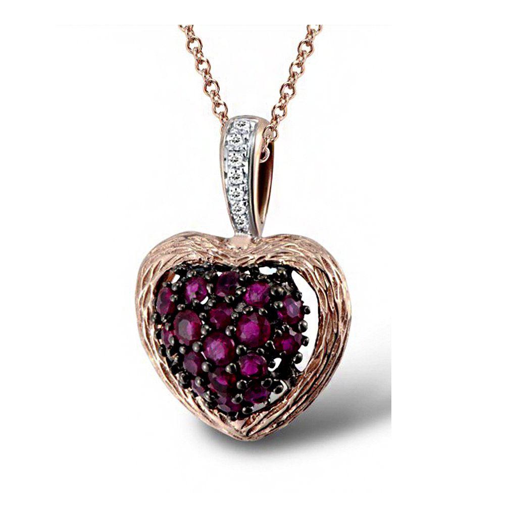 Кулон из красного золота с бриллиантами и рубинами