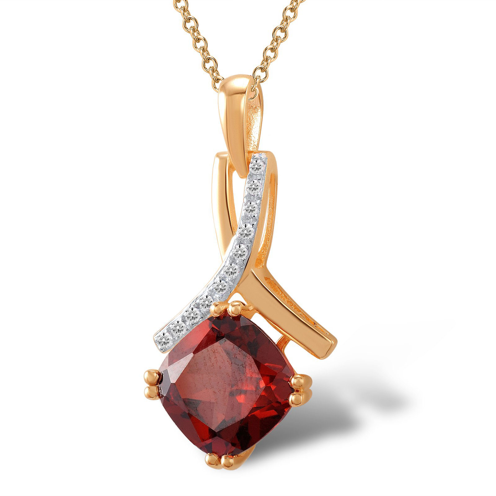 Кулон из красного золота с бриллиантами и гранатом