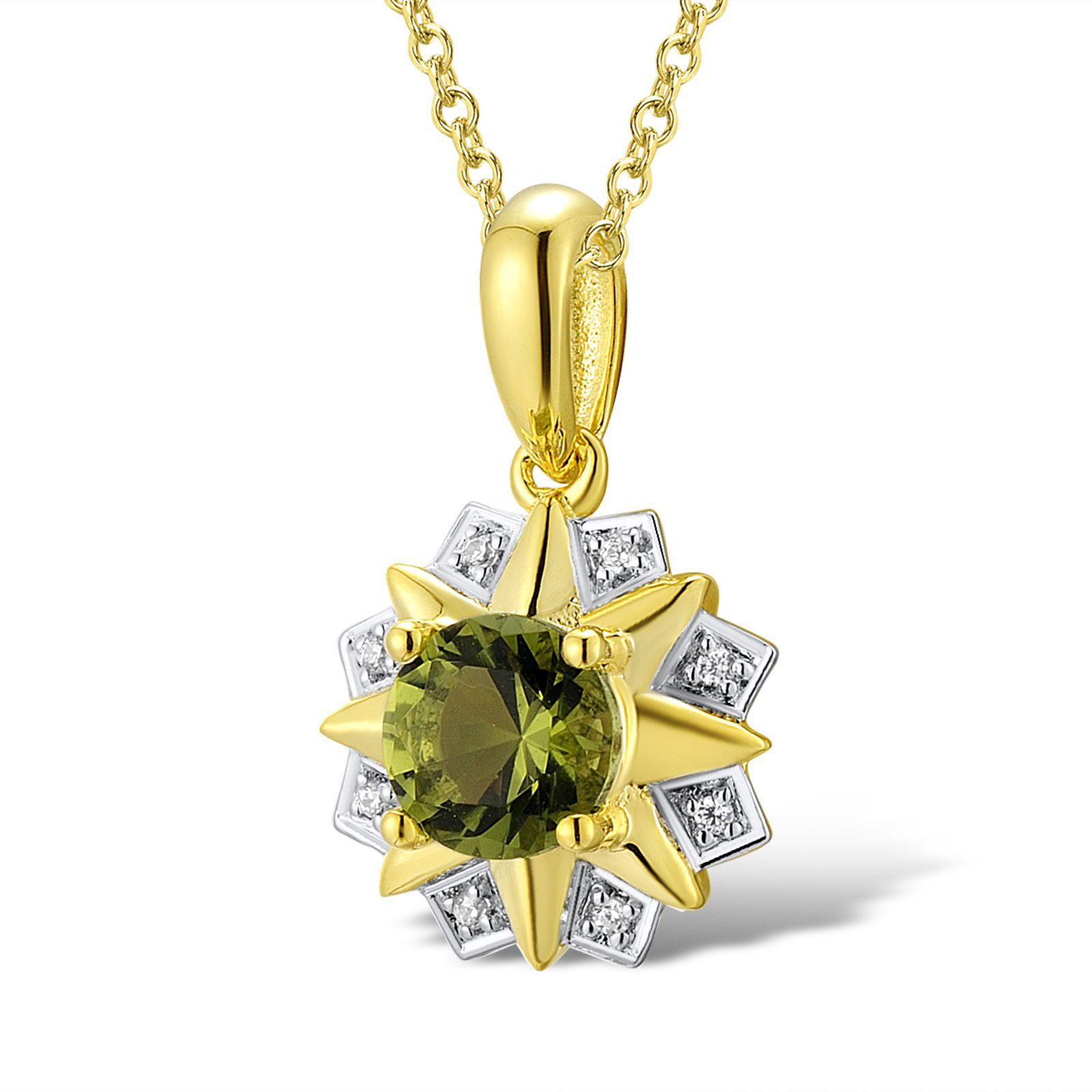 Кулон из желтого золота с бриллиантами и перидотом
