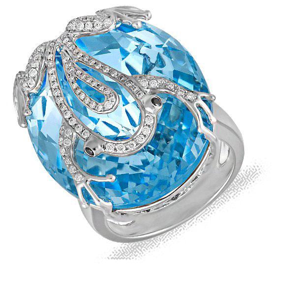 Кольцо из белого золота с бриллиантами и топазом