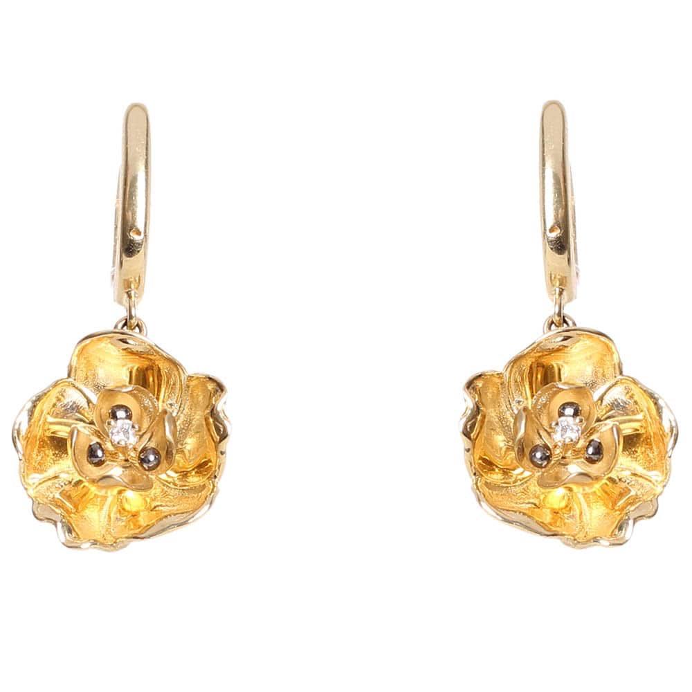 Золотые серьги Roberto Bravo с подвесками в форме цветов с бриллиантами