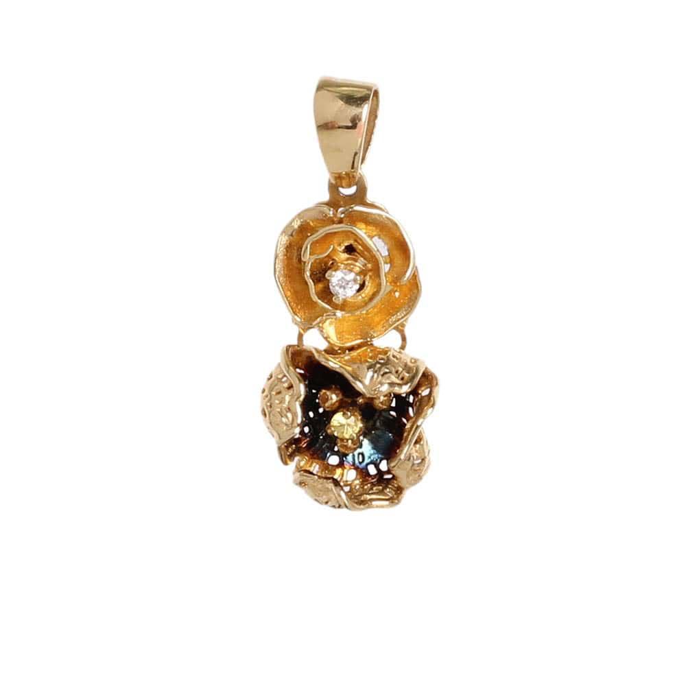 Золотой подвес Roberto Bravo с двумя цветками и бриллиантами