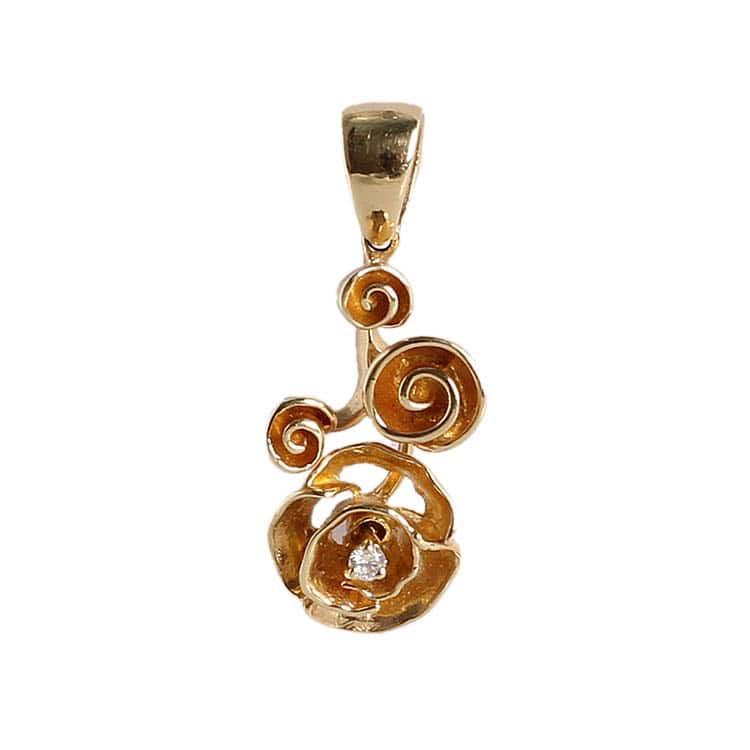 Золотой кулон Roberto Bravo с цветком и бриллиантом