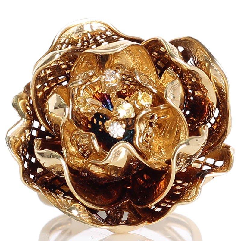 Золотой перстень Roberto Bravo Gallica с большим цветком с бриллиантами и сапфирами внутри