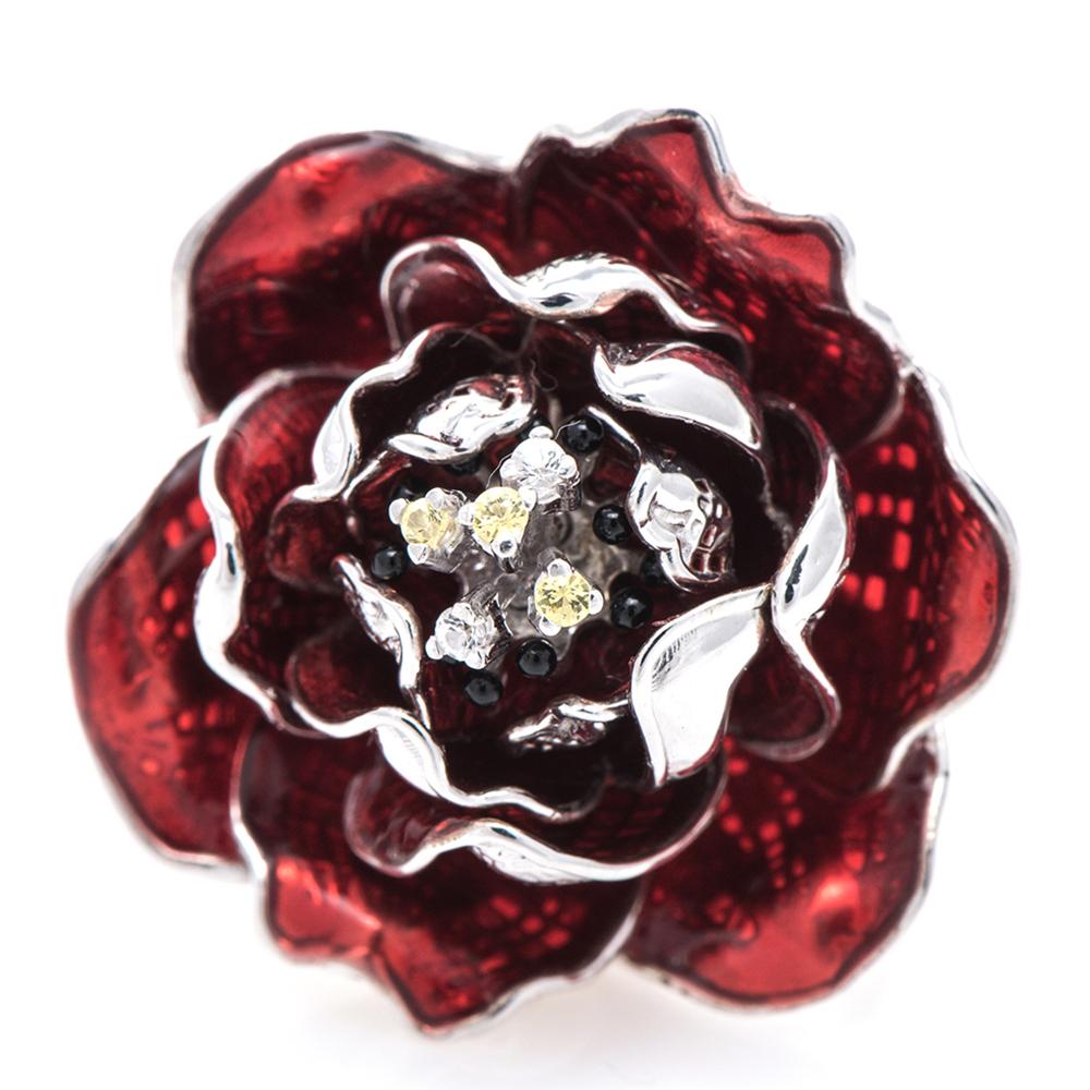 Кольцо 935 by Roberto Bravo с красным цветком