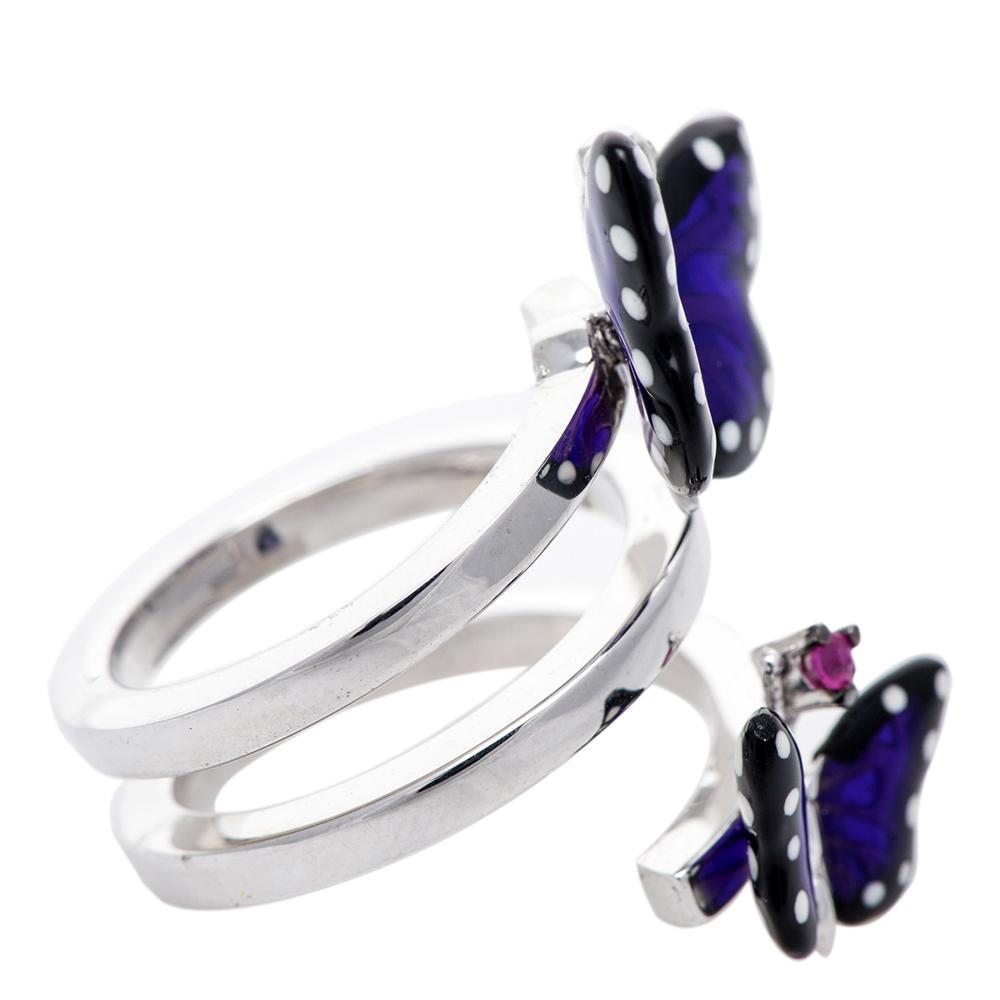 Двойное кольцо 935 by Roberto Bravo с фиолетовыми бабочками