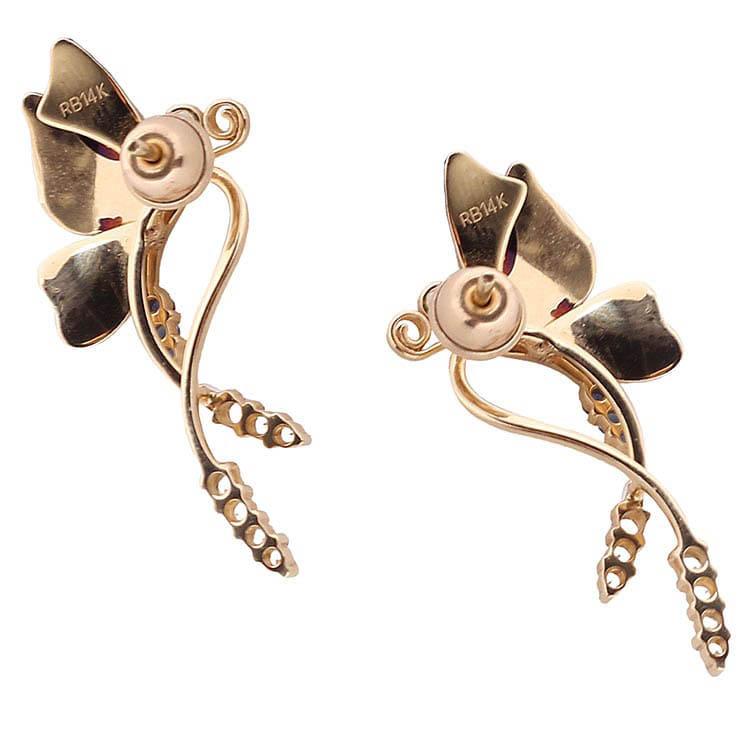 Длинные серьги-гвоздики Roberto Bravo Global Warming с бабочками и драгоценными камнями