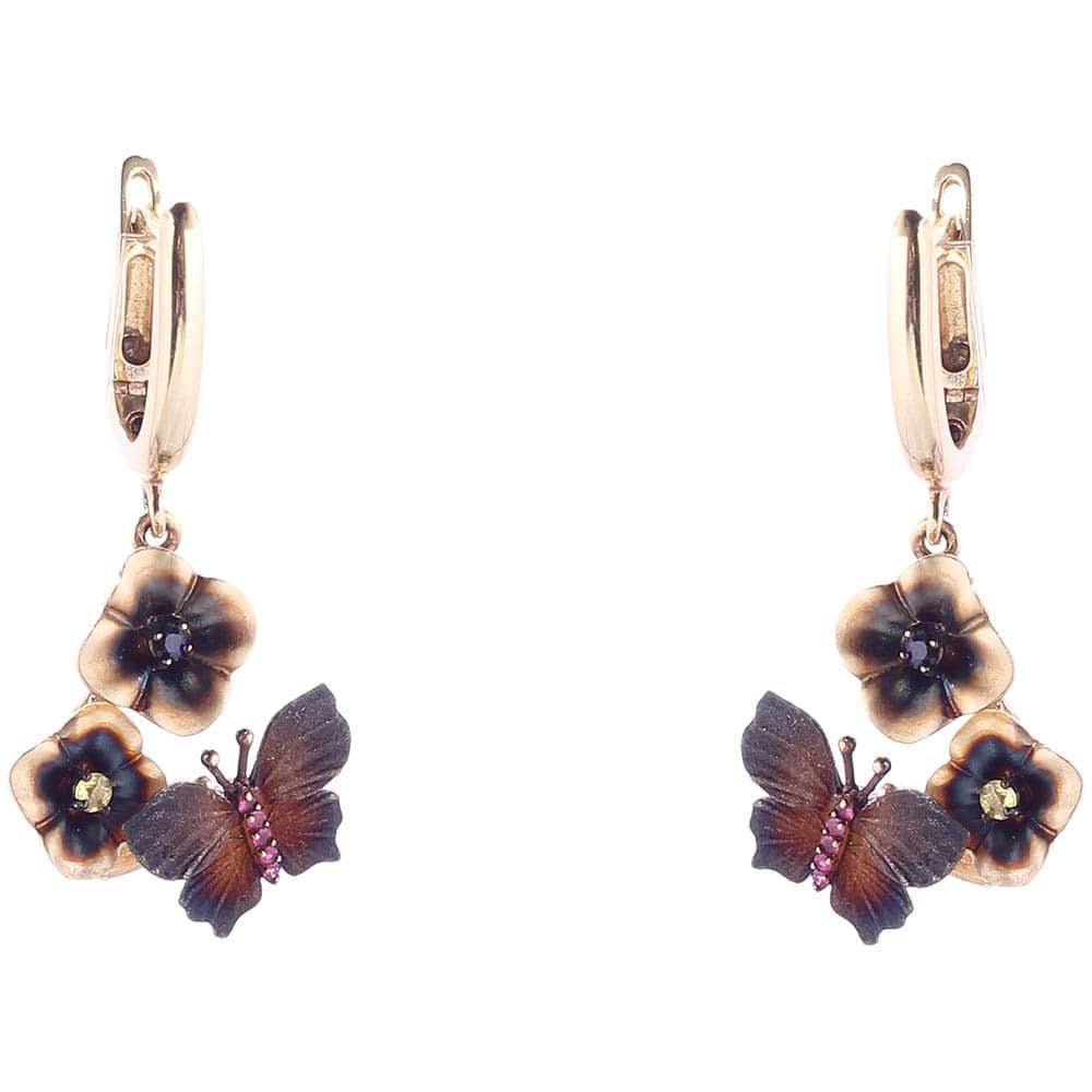 Золотые серьги Roberto Bravo Global Warming с коричневыми бабочками и сапфирами