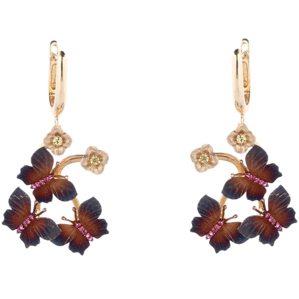 Золотые серьги Roberto Bravo Global Warming с коричневыми бабочками и цветами
