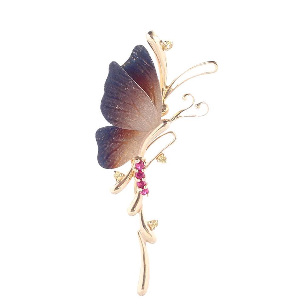 Золотой длинный подвес Roberto Bravo Global Warming в форме бабочки с сапфирами