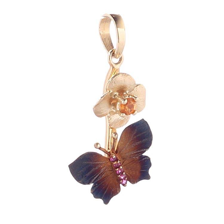 Золотой подвес Roberto Bravo Global Warming с крупной бабочкой и золотым цветком