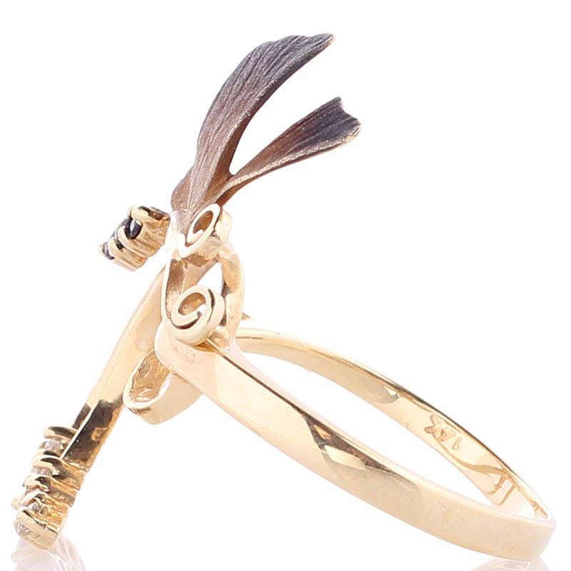 Золотое кольцо Roberto Bravo Global Warming с длинной бабочкой и драгоценными камнями