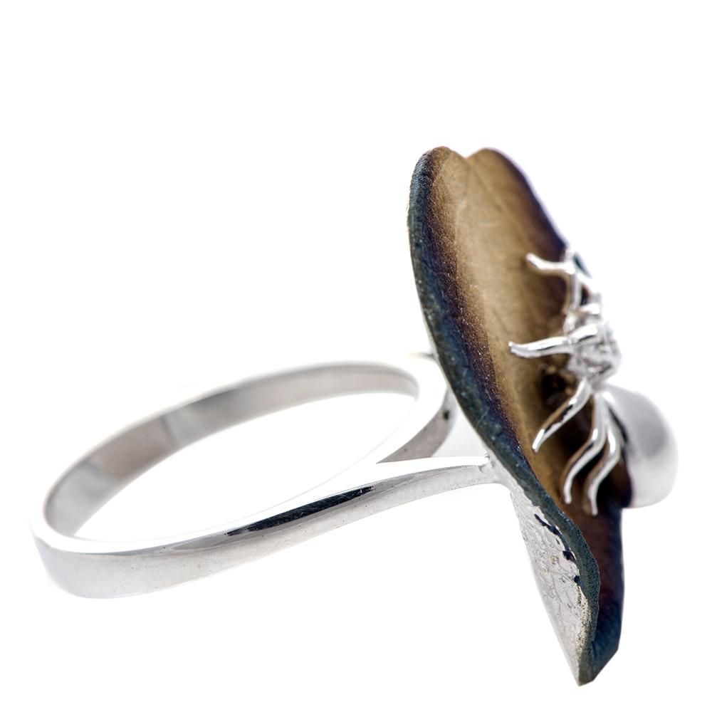 Серебряное кольцо 935 by Roberto Bravo с паучком на листике