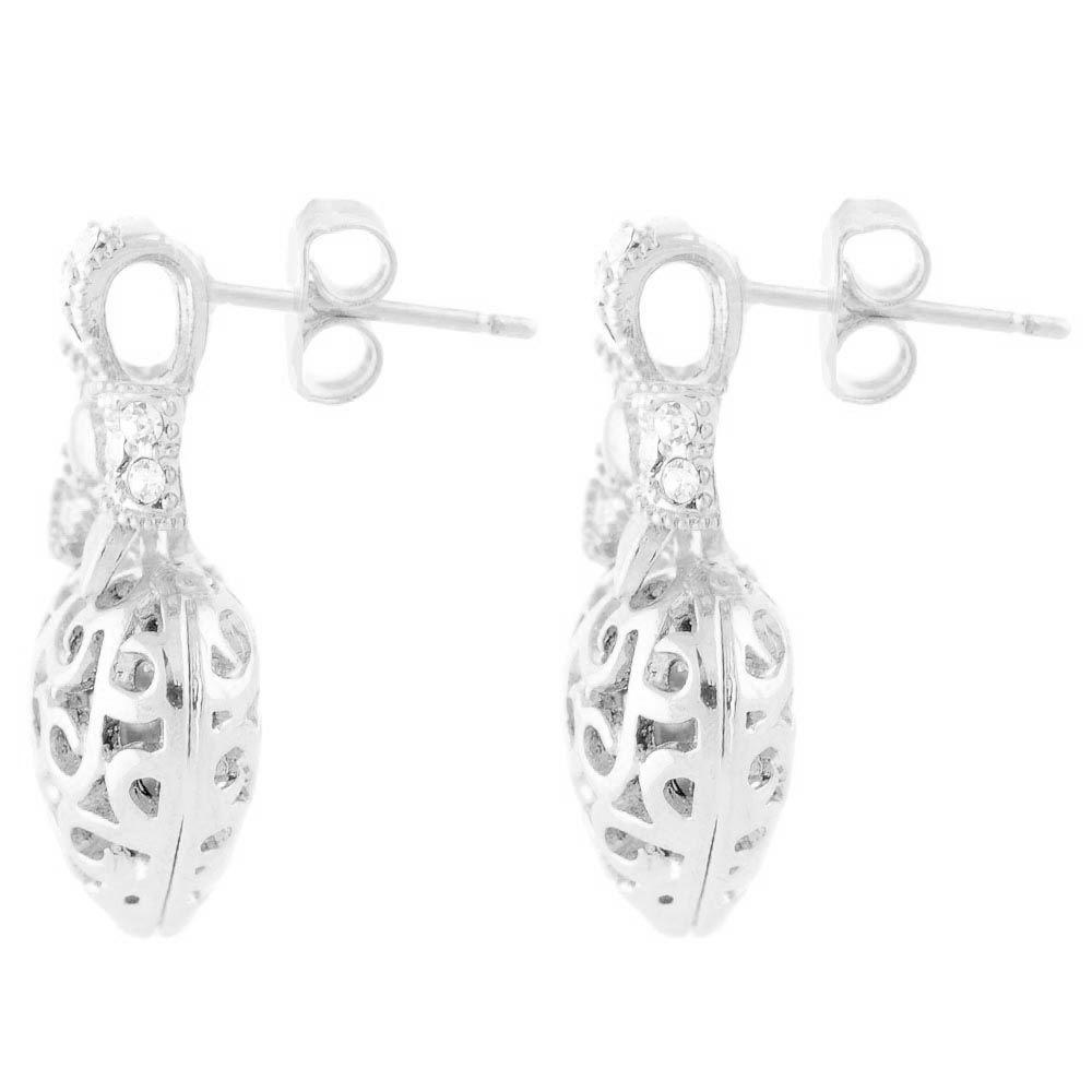 Серьги Parure Milano с ажурными сердечками в серебряном цвете