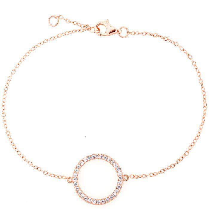 Браслет Jewels с покрытием из розового золота на тонкой цепочке с кольцом из цирконов
