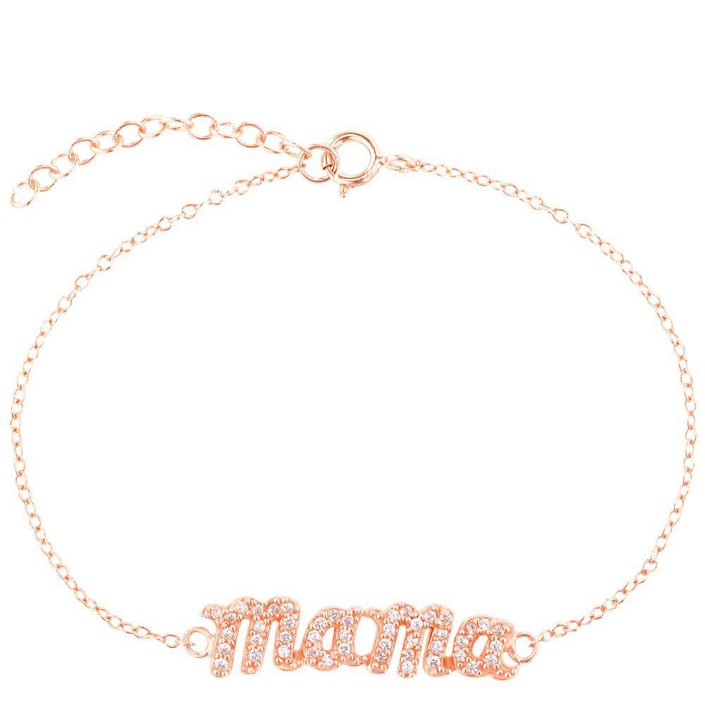 Браслет Jewels Mama на тонкой цепочке с напылением розового золота и цирконами