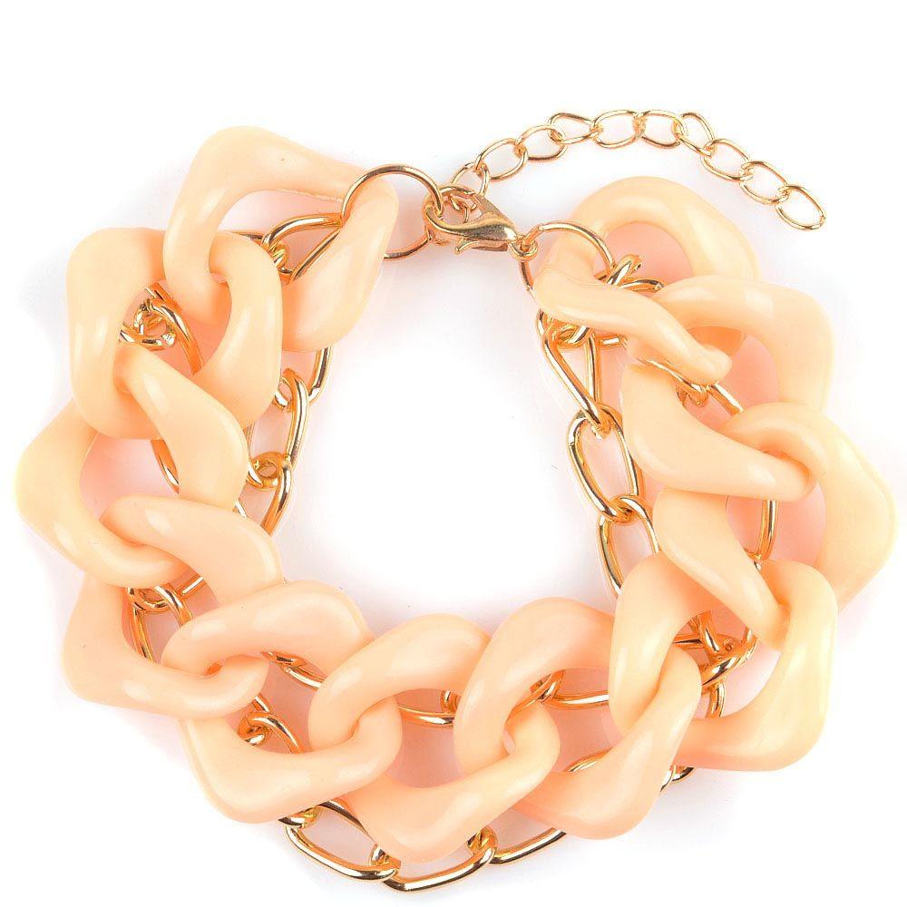 Браслет Jewels в виде одной крупной и двух узких цепочек абрикосового и золотого цвета