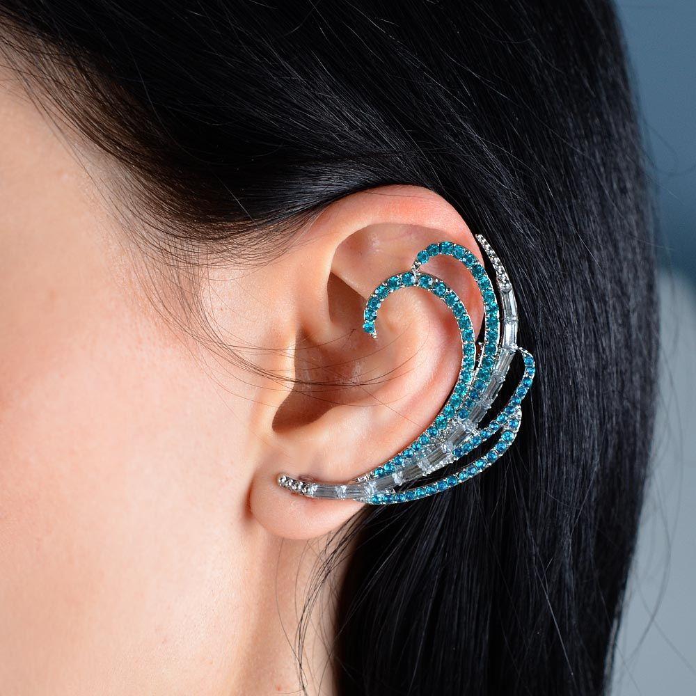 Изящная серьга-кафф Jewels в серебре со сверкающими изумрудными стразами