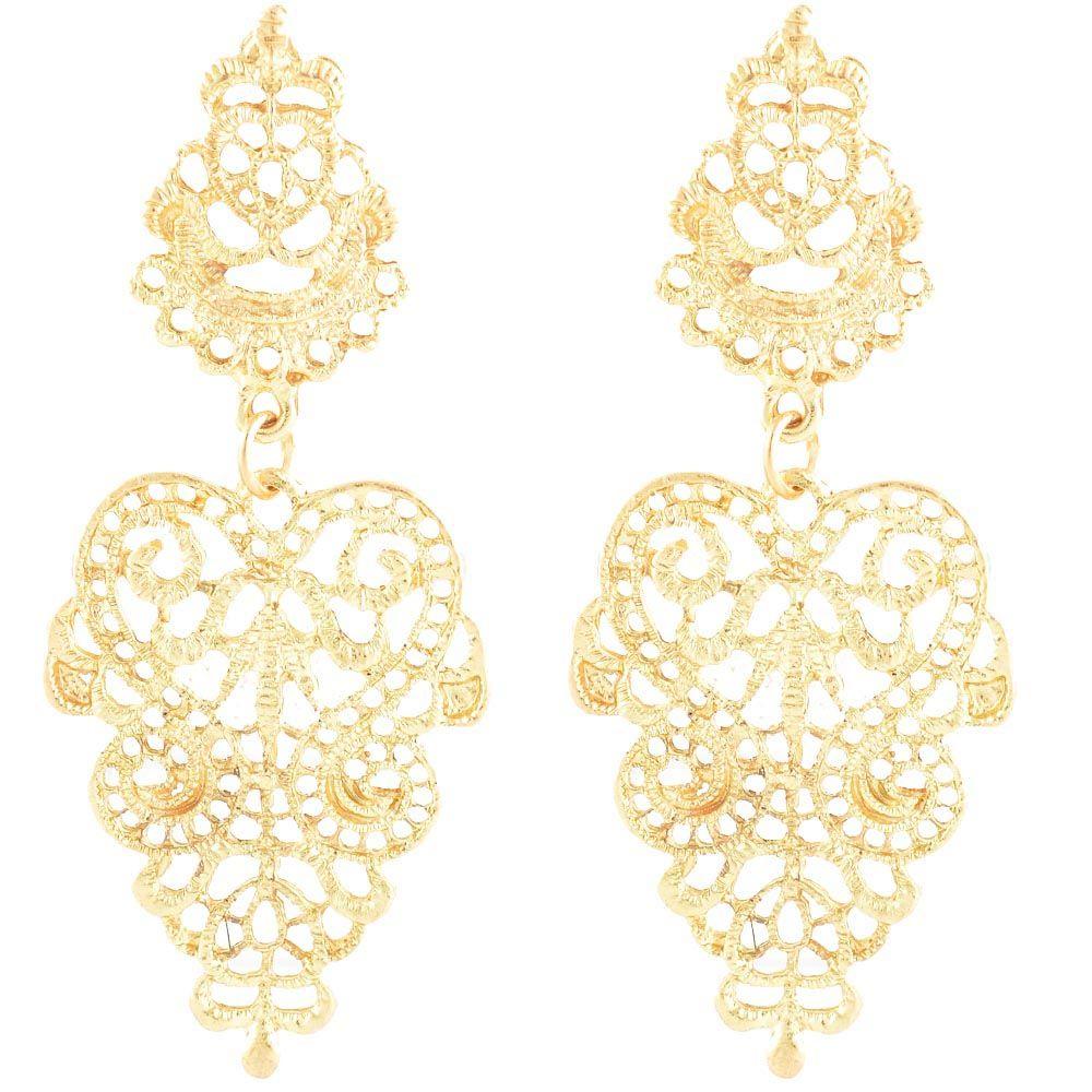 Резные серьги-гвоздики Jewels золотого цвета