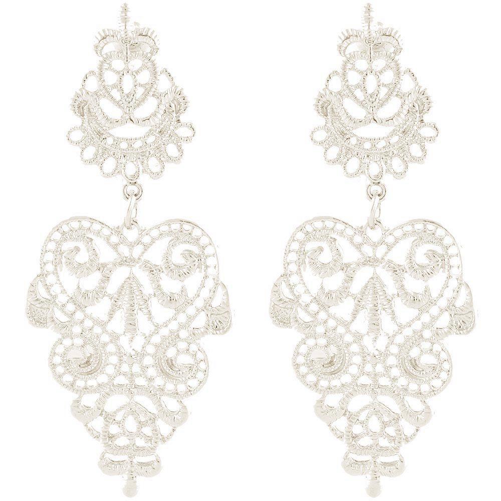 Длинные серьги-гвоздики Jewels цвета платины