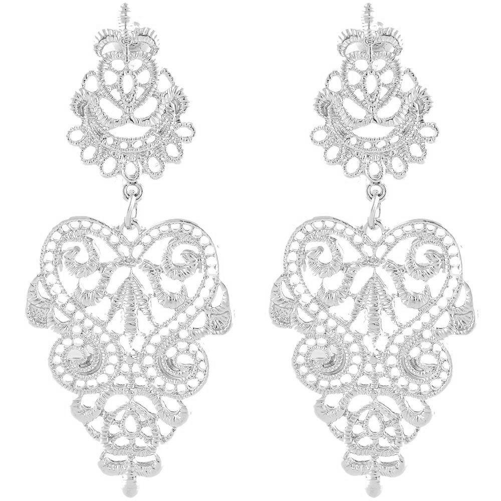 Резные серьги-гвоздики Jewels серебристого цвета