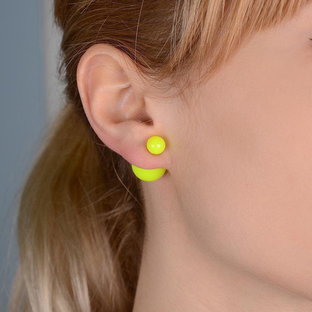 Яркие ассиметричные пусеты Jewels желто-зеленого цвета