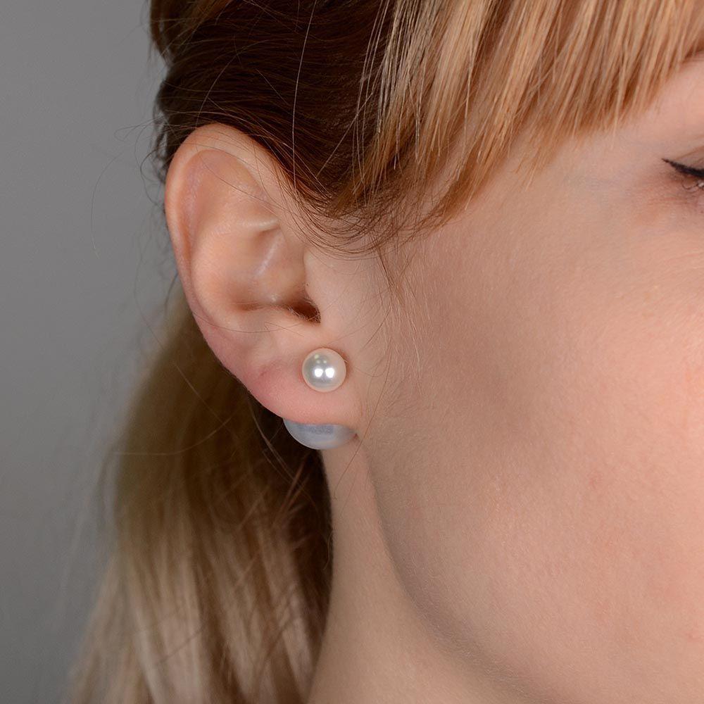 Серьги-пусеты Jewels белые глянцевые