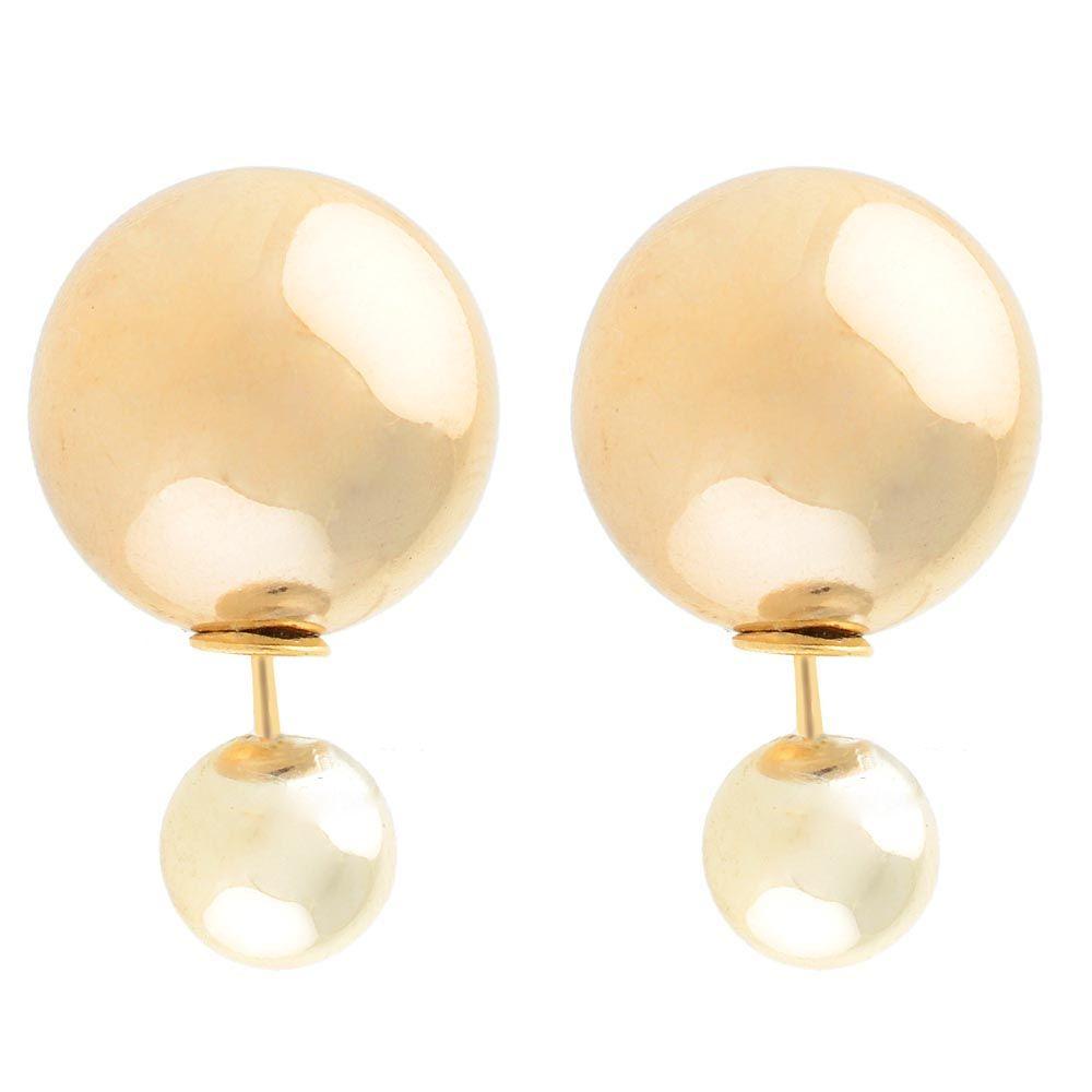 Серьги-пусеты Jewels глянцевые светло-золотого цвета