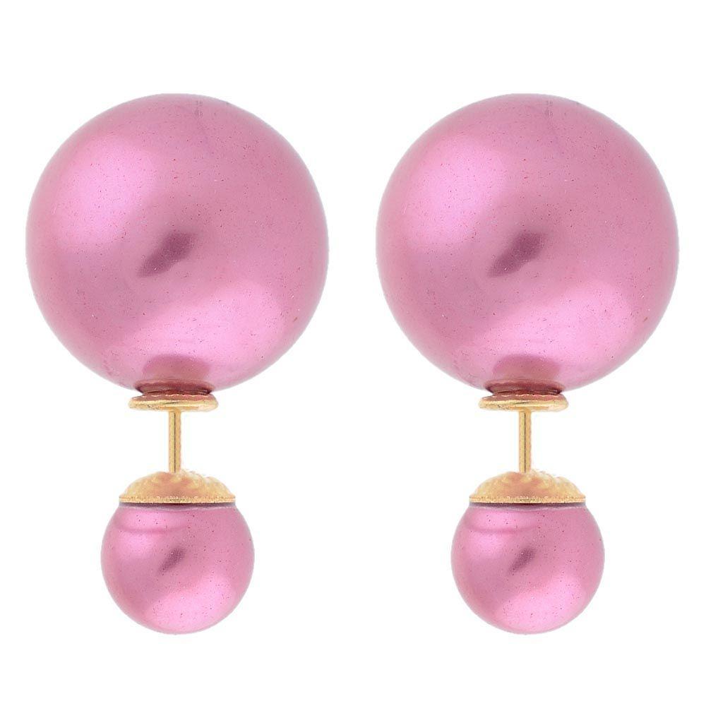 Ассиметричные серьги Jewels розово-сиреневого цвета
