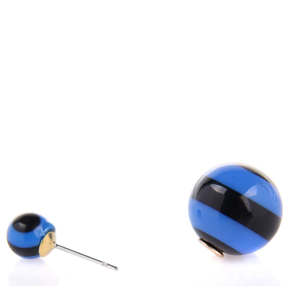 Серьги пусеты Jewels полосатые черные с синим