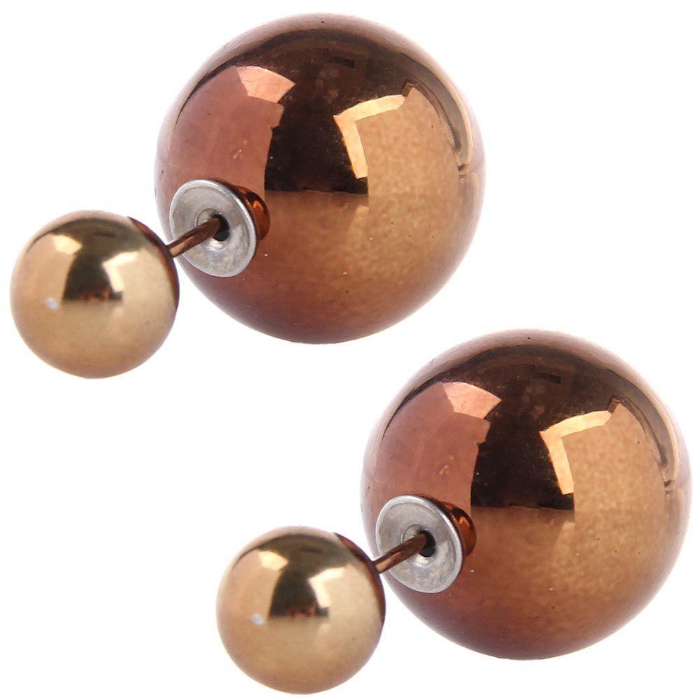Серьги пусеты Jewels бронзового цвета глянцевые