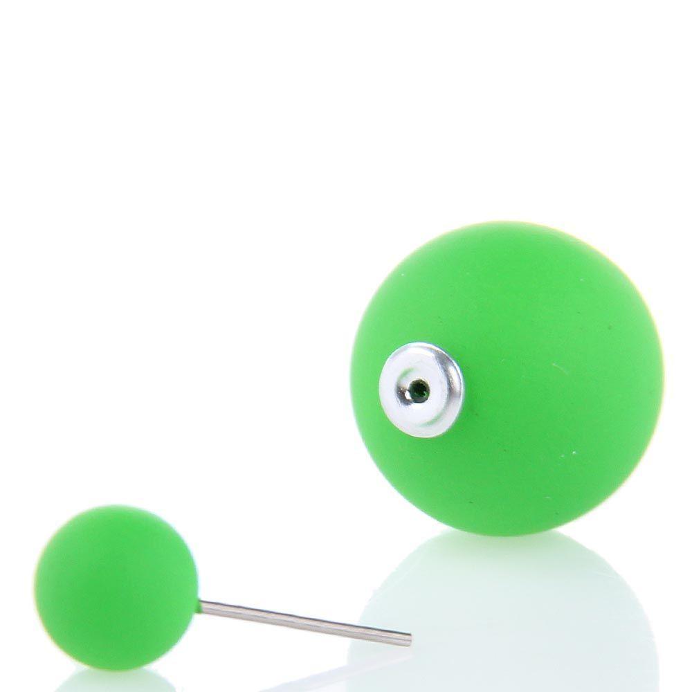 Серьги пусеты Jewels матовые зеленого цвета