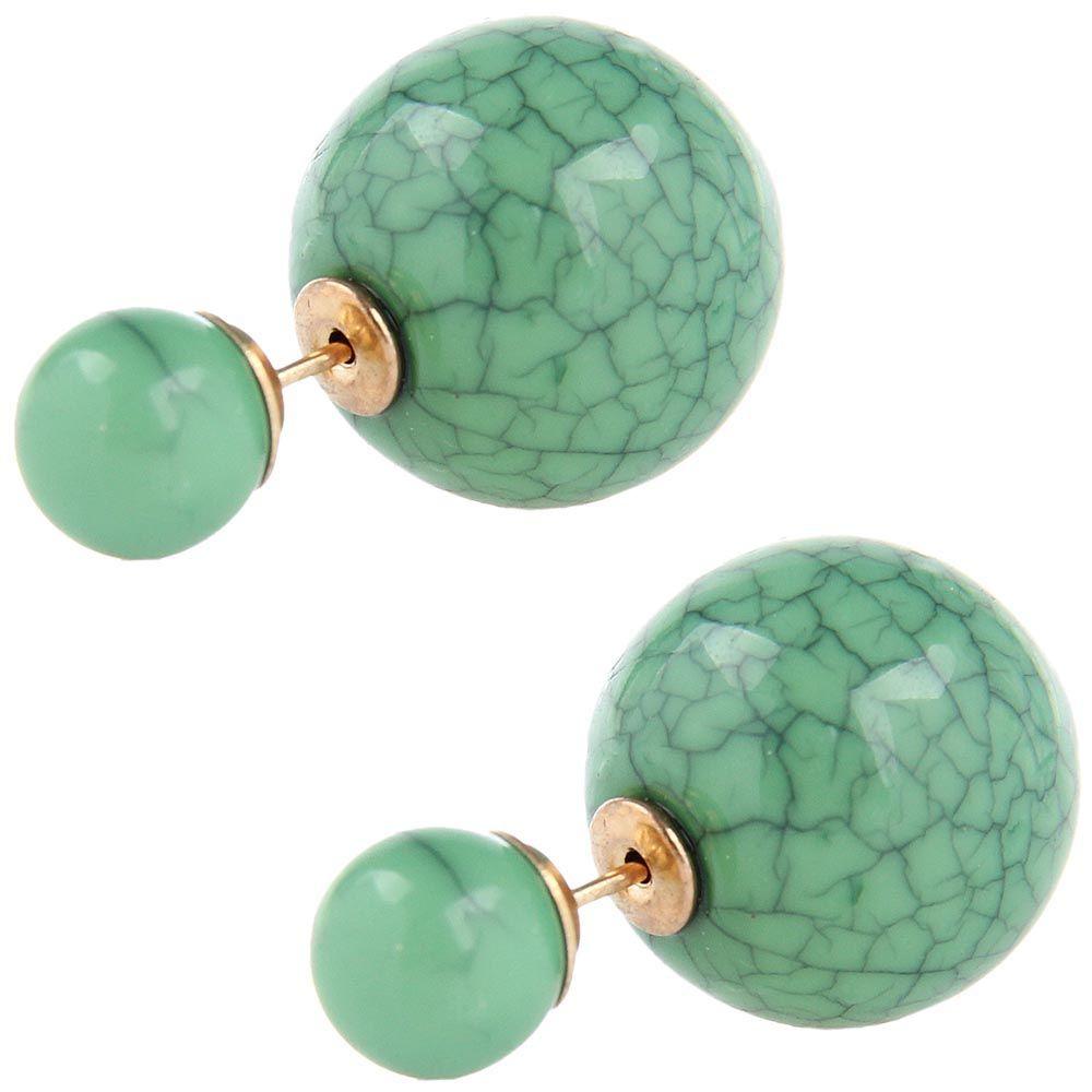 Серьги пусеты Jewels зеленого цвета с декоративными трещинками