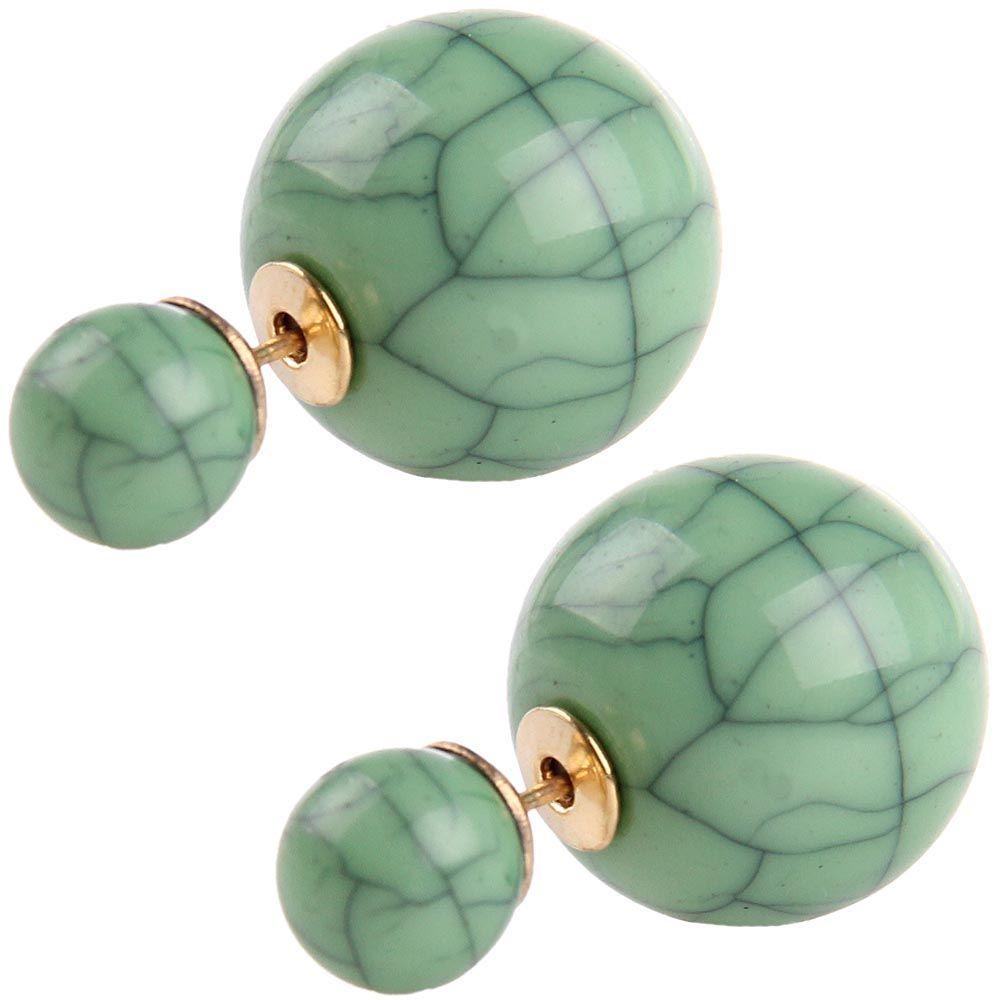 Серьги-пусеты Jewels окраса черепахи в зеленых тонах