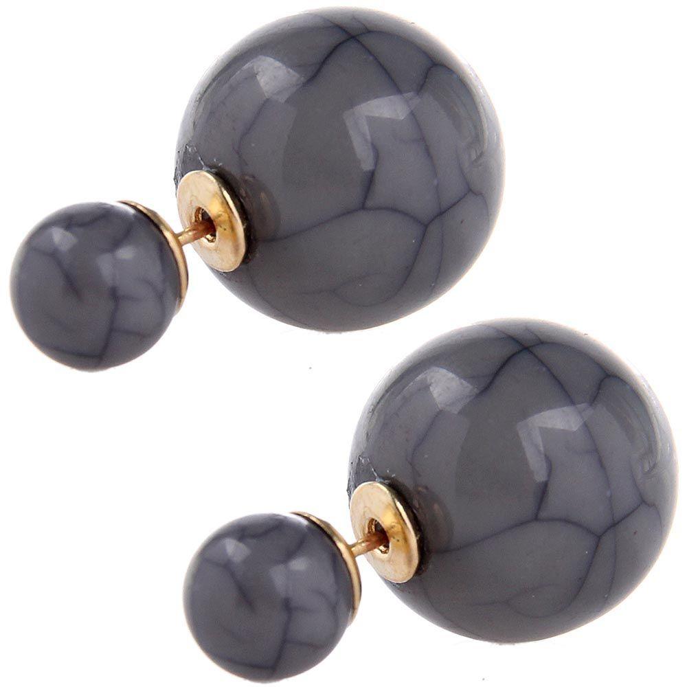Серьги пусеты Jewels серого цвета с декоративными трещинками