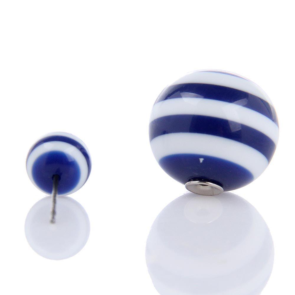 Серьги пусеты Jewels полосатые белые с синим